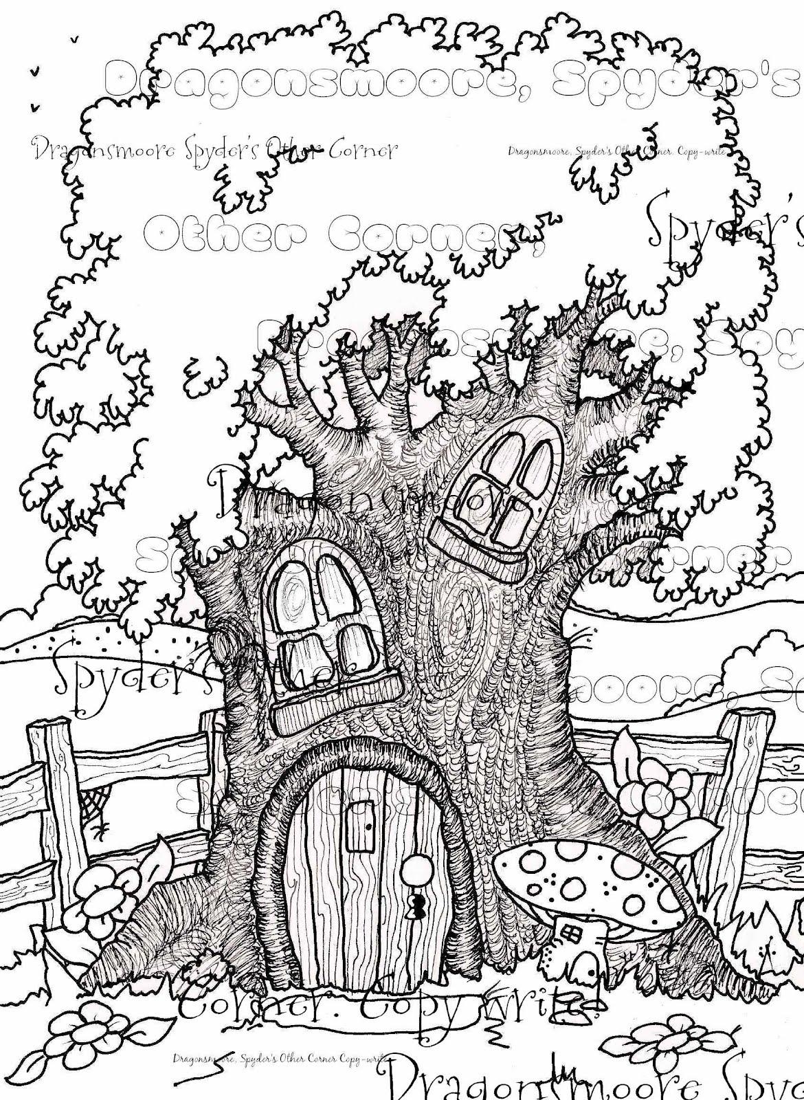 1170x1600 Dragonsmoore, Digital Stamps, Spyder's Other Corner Magic Tree