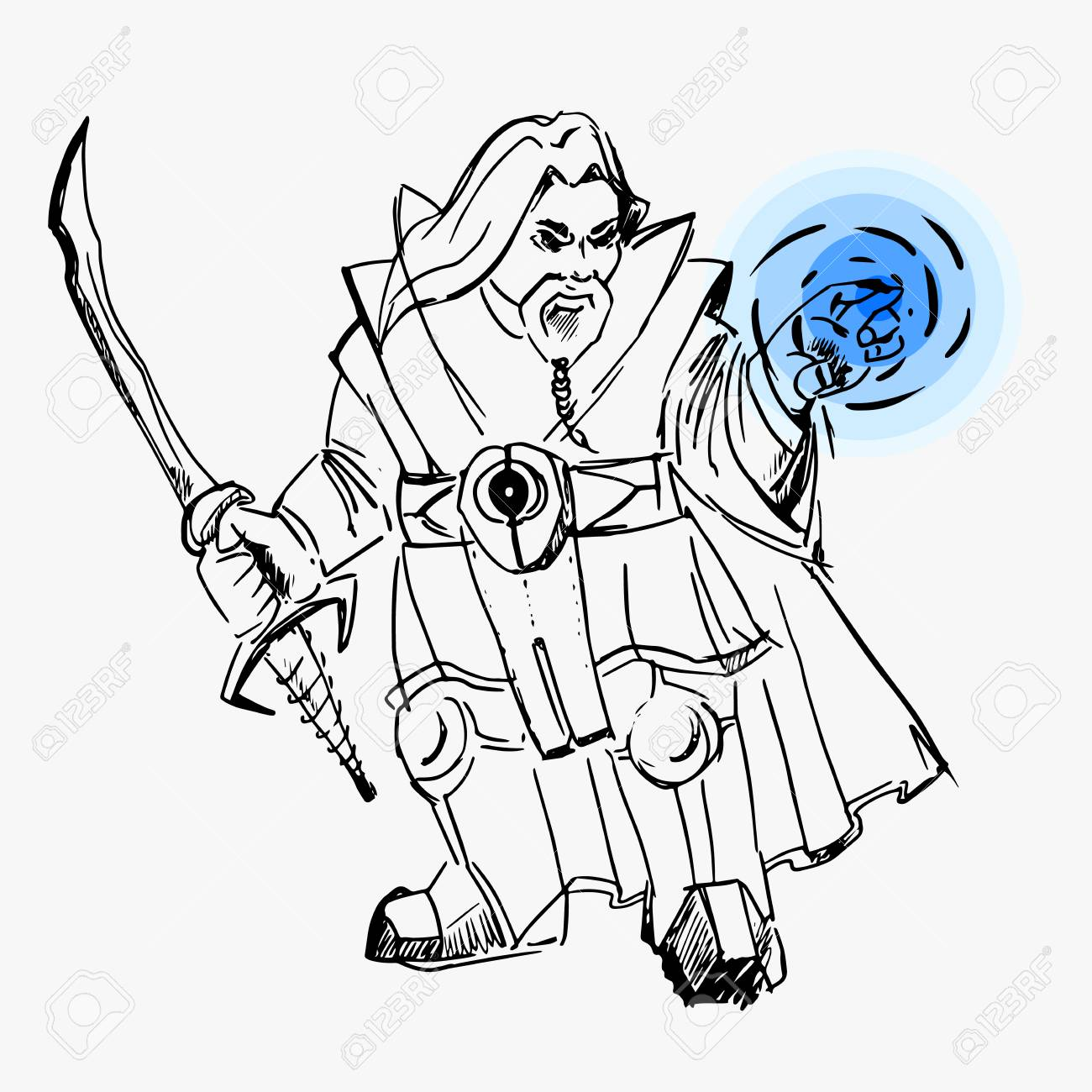 1300x1300 Vector, Dwarf Warrior Magician, Line Drawing, Sword, Cloak, Magic