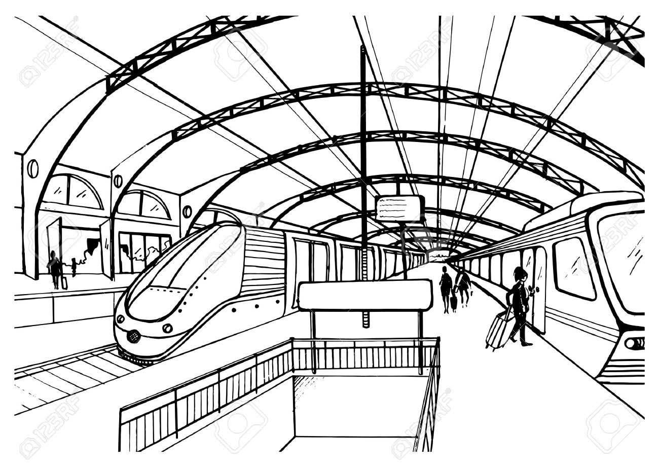 1300x921 Monochrome Sketch With Railway Station. Black And White