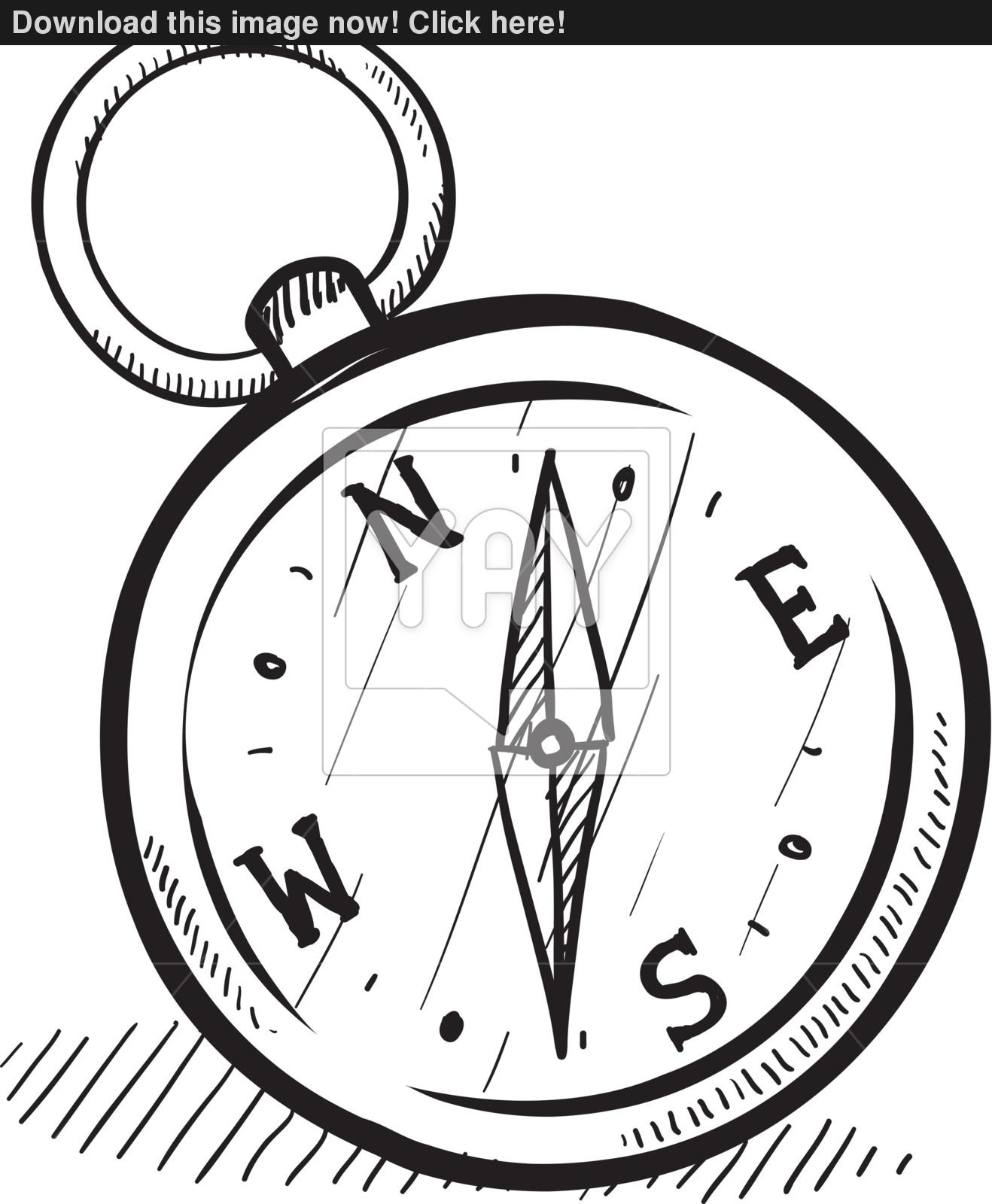 1318x1600 Magnetic Compass Vector Sketch Vector
