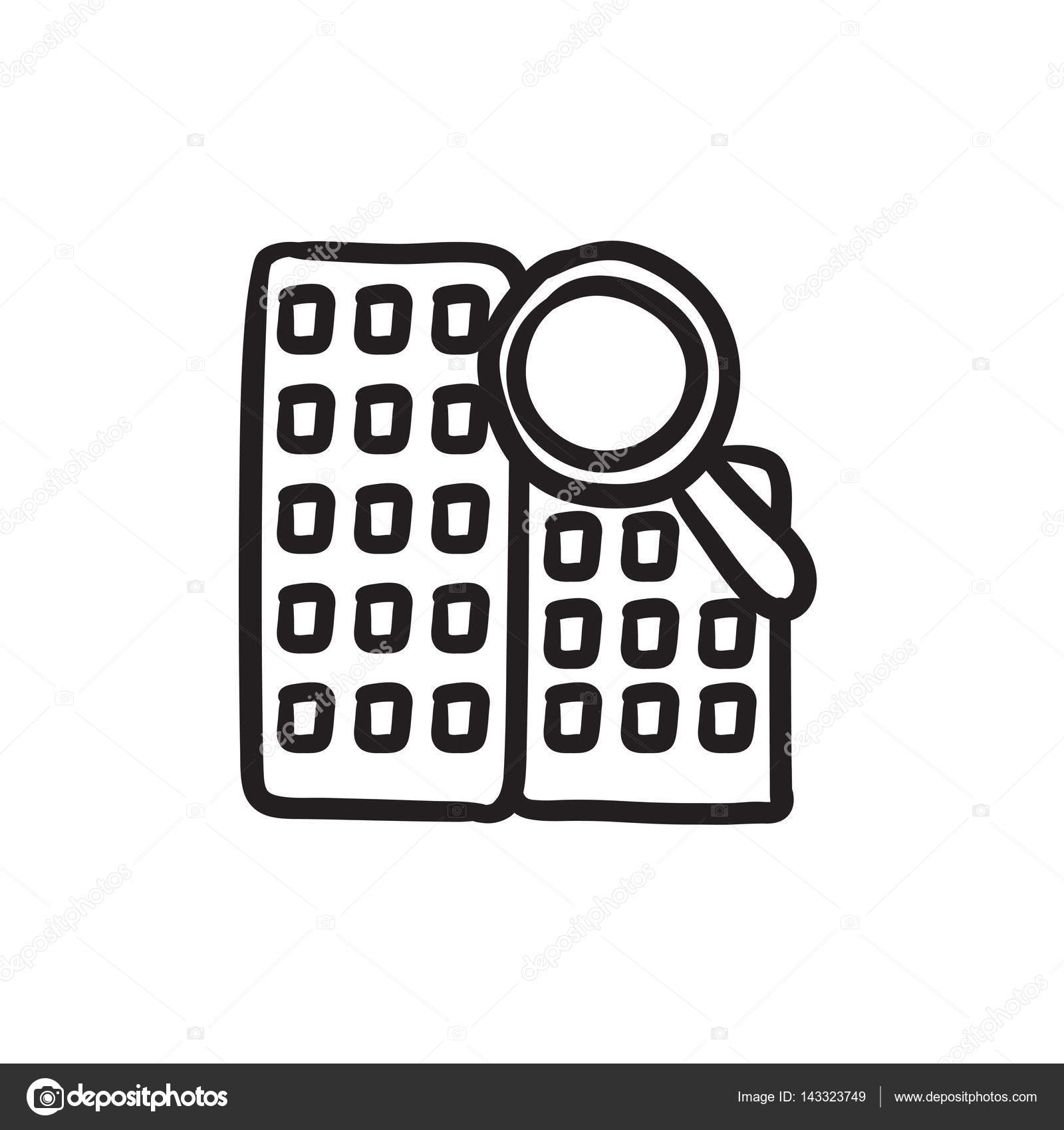 1600x1700 Condominium And Magnifying Glass Sketch Icon. Stock Vector