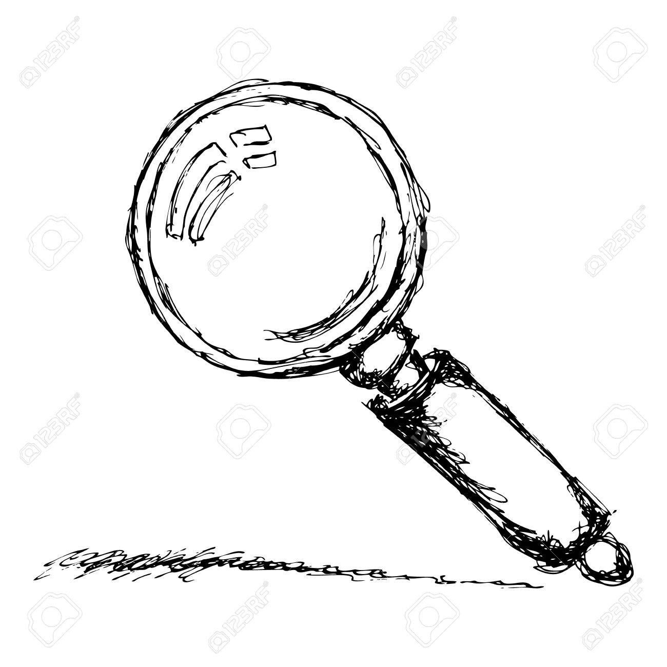 1300x1300 Hand Drawn Sketch Of A Magnifying Glass Royalty Free Cliparts