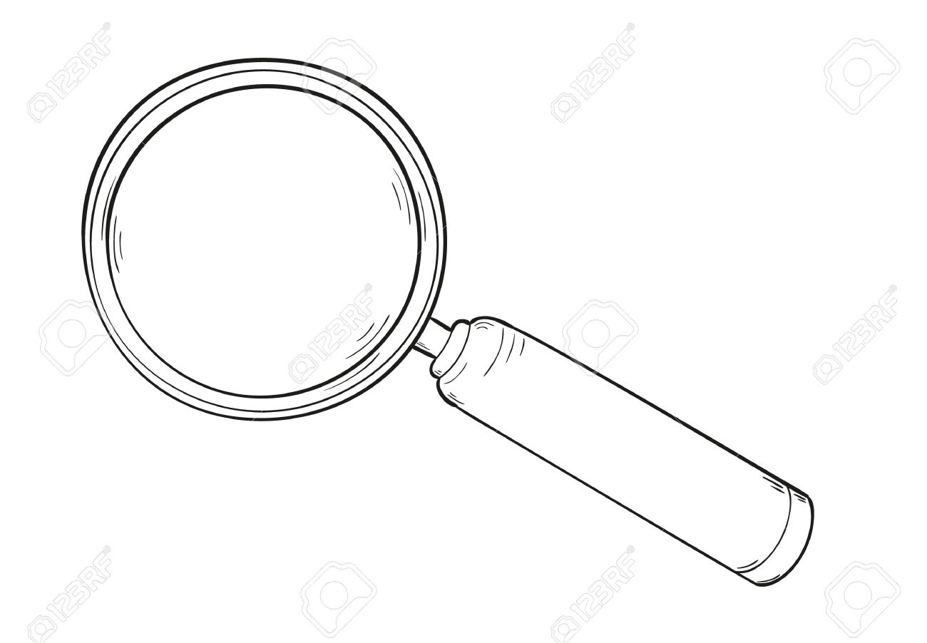 1300x902 Sketch Of The Elegant Magnifying Glass, Isolated Royalty Free