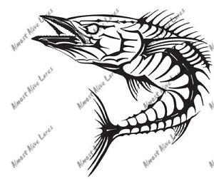 300x254 Saltwater Game Fish Bone Mahi Flounder Marlin Tuna Decal Sticker