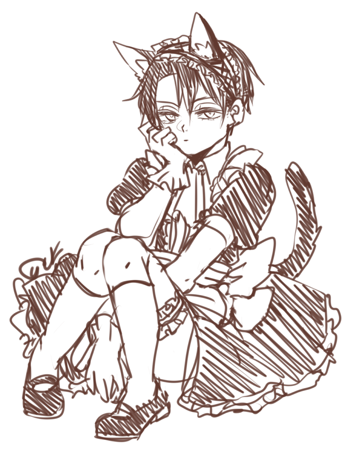 698x899 Neko Maid Levi By Ekaithe