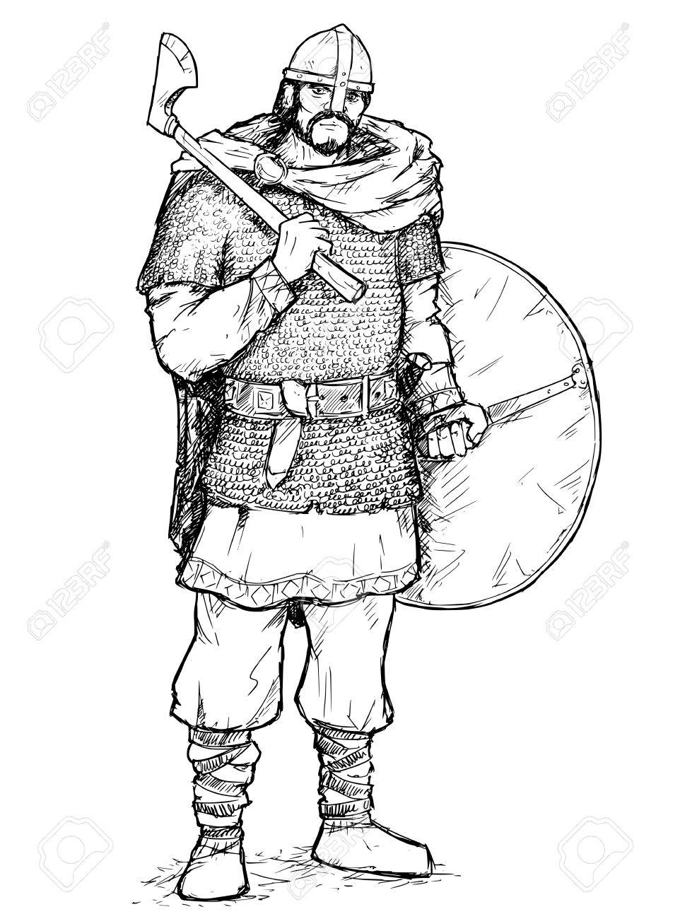 962x1300 Hand Drawing Pen And Ink Illustration Of Ancient Viking Warrior