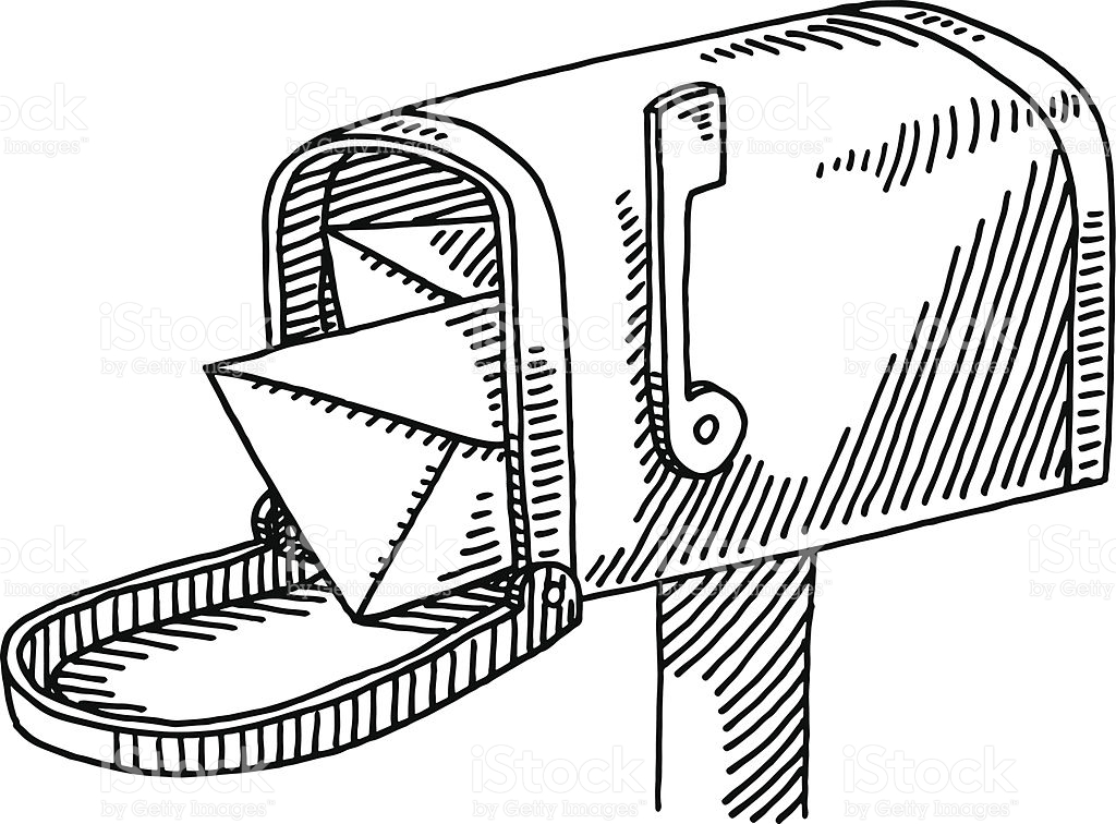 1024x756 Hand Drawn Vector Drawing Of An Open Mailbox And Some Letters