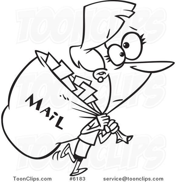 581x600 Cartoon Black And White Line Drawing Of A Mail Lady Carrying A Big