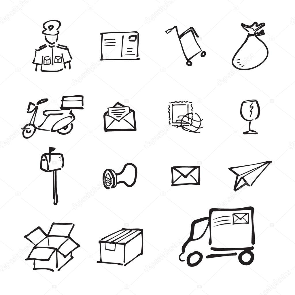 1024x1024 Postman And Mail Drawing Icons Set Stock Vector Tawesit@gmail