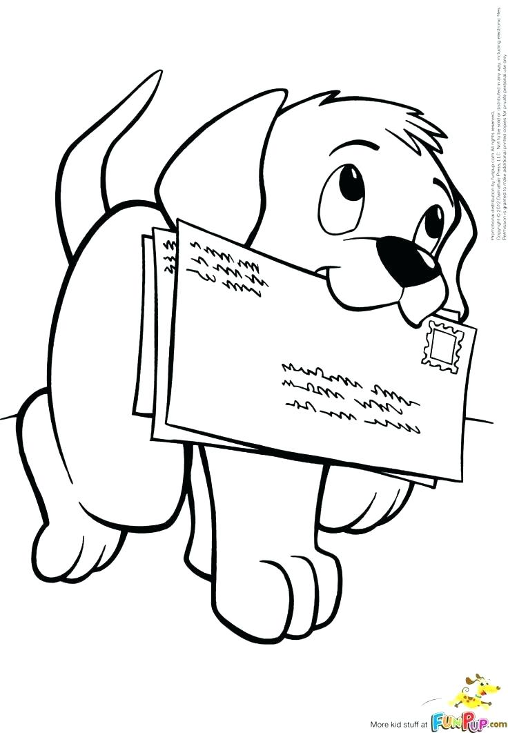 736x1062 Puppy Coloring Pages Cute Free Dog Carrying Letters To Mail