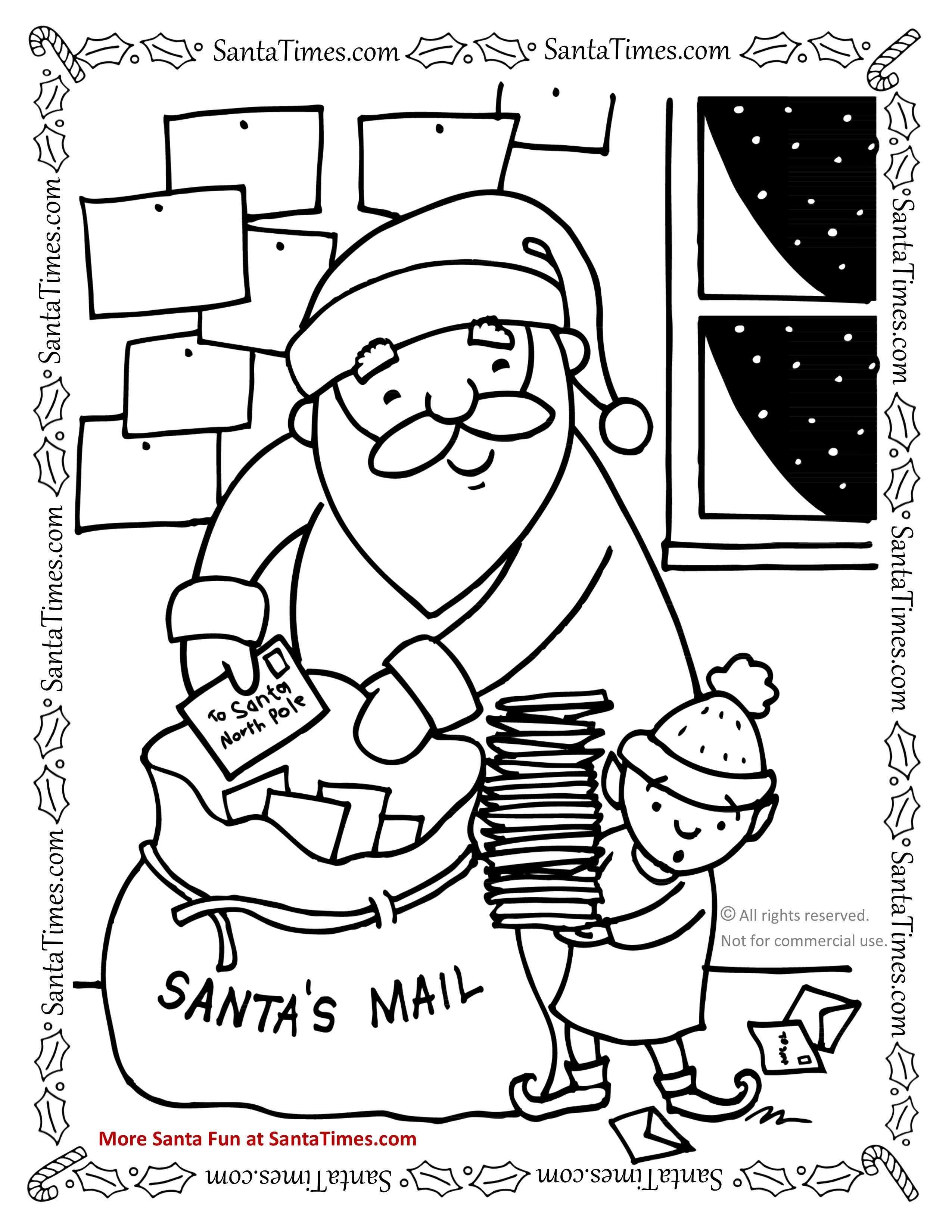 2550x3300 Santa's Mail Bag Coloring Page