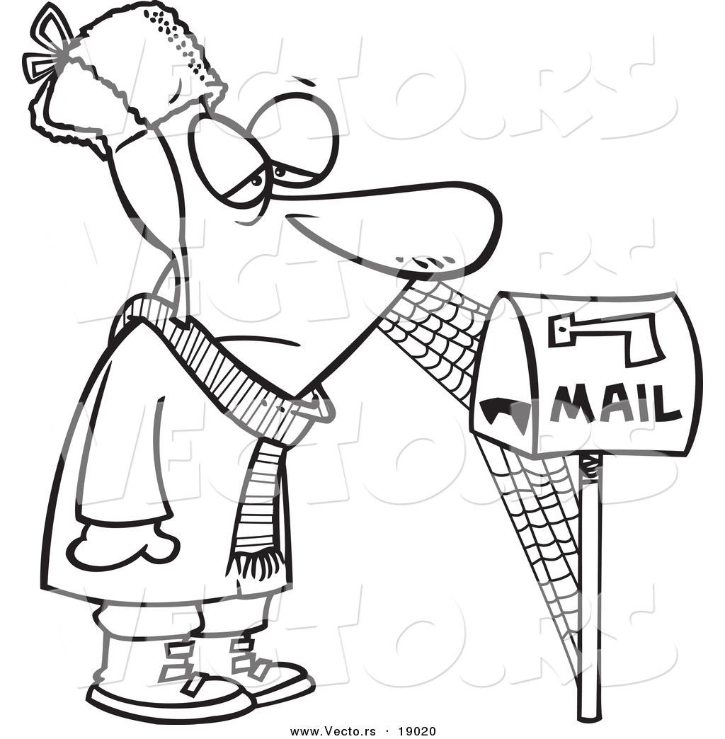 1024x1044 Vector Of A Cartoon Man Waiting By Mailbox, With Cobwebs
