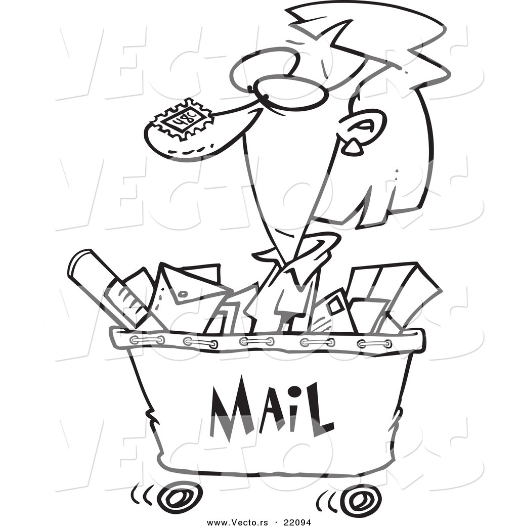 1024x1044 Vector Of A Cartoon Woman In A Mail Cart