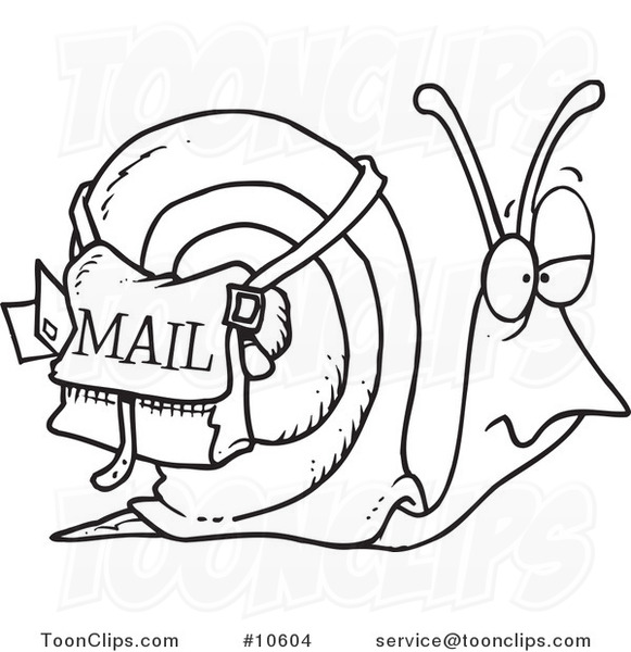 581x600 Cartoon Black And White Line Drawing Of A Snail Mail