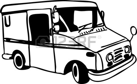 450x275 Mail Truck Drawing Royalty Free Cliparts, Vectors, And Stock