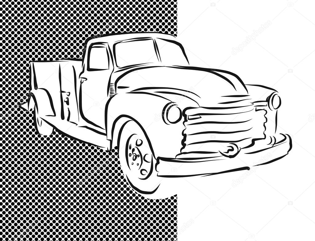 1024x784 Old Pickup Truck Hand Drawn Artwork Stock Vector Mail