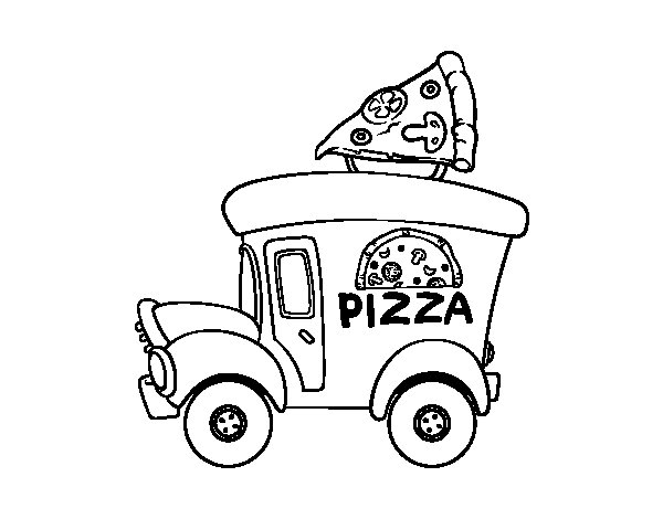 600x470 Pizza Food Truck Coloring Page