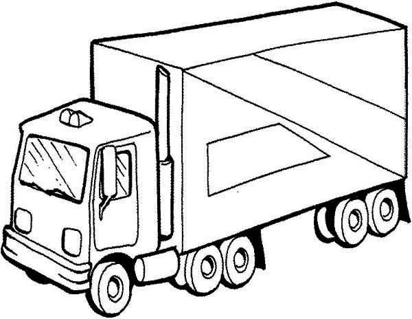 600x464 Semi Truck Picture Coloring Page