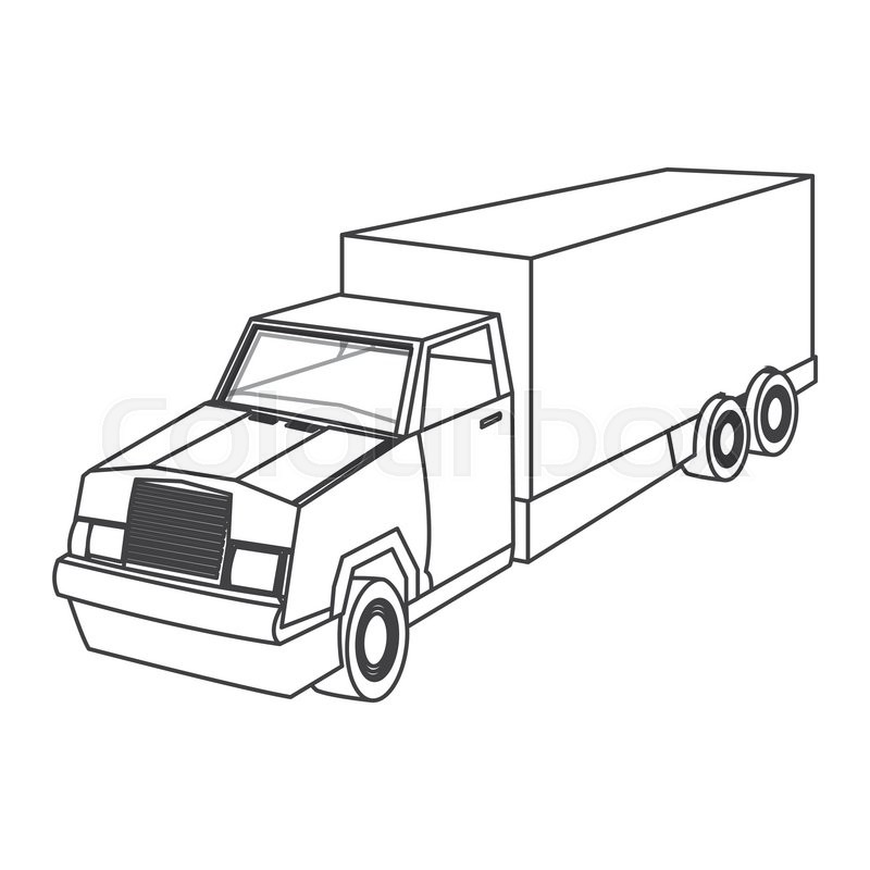 800x800 Flat Design Cargo Truck Icon Vector Illustration Stock Vector