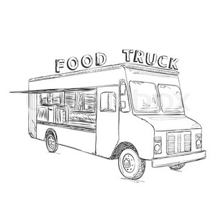 320x290 Hand Drawn Food Truck. Delivery Service Sketch Stock Vector
