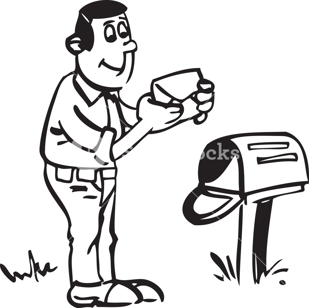 1000x994 Illustration Of A Man With Letter And Mailbox. Royalty Free Stock
