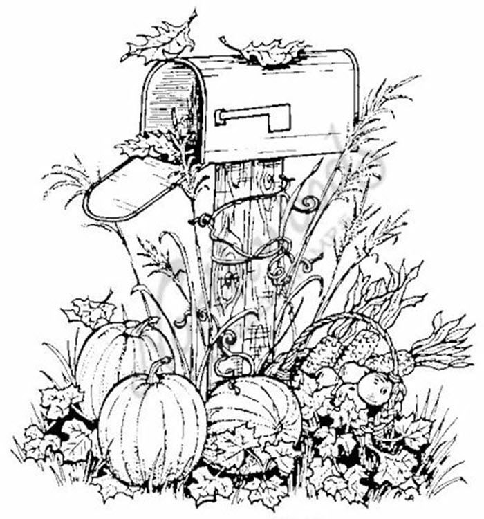 700x750 Northwoods Rubber Stamp Harvest Mailbox Pumpkins Fall Autumn