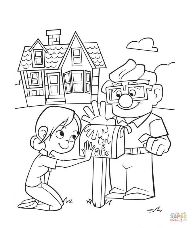 671x794 Carl And Ellie Mailbox Coloring Page Free Printable Coloring Pages
