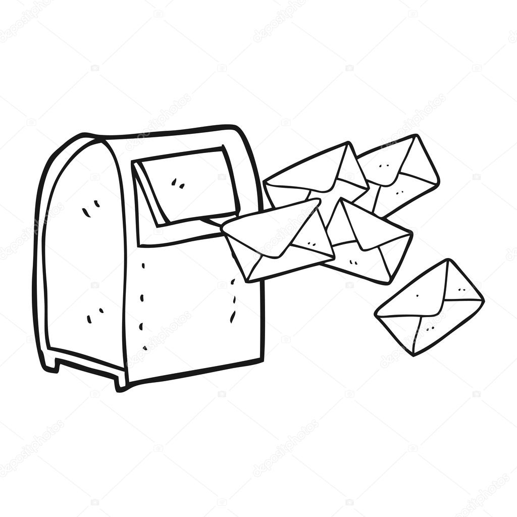 1024x1024 Black And White Cartoon Mailbox Stock Vector Lineartestpilot