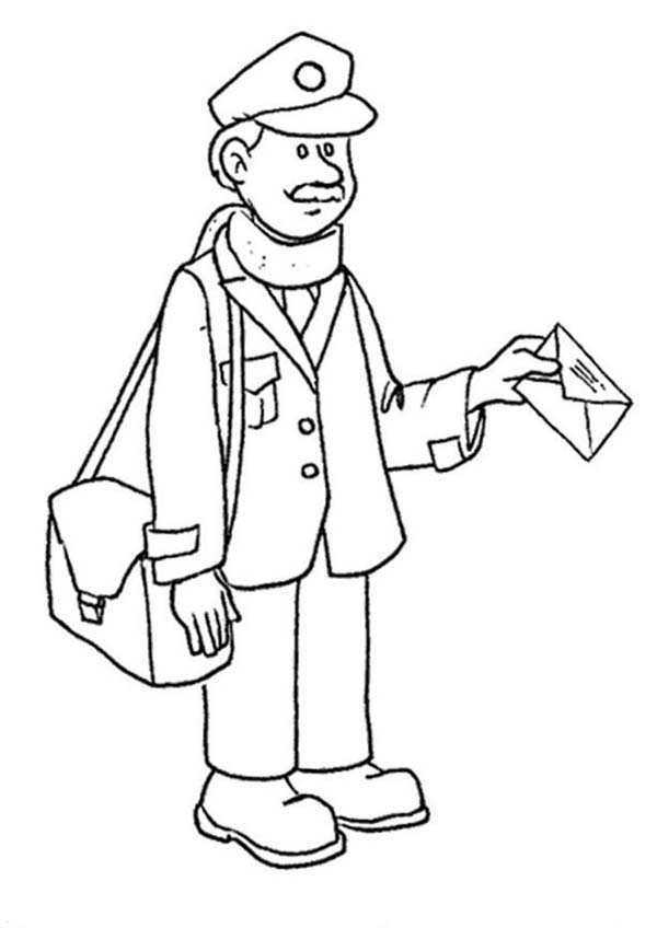 600x848 Mailman Delivering Mail In Professions Coloring Pages Batch Coloring