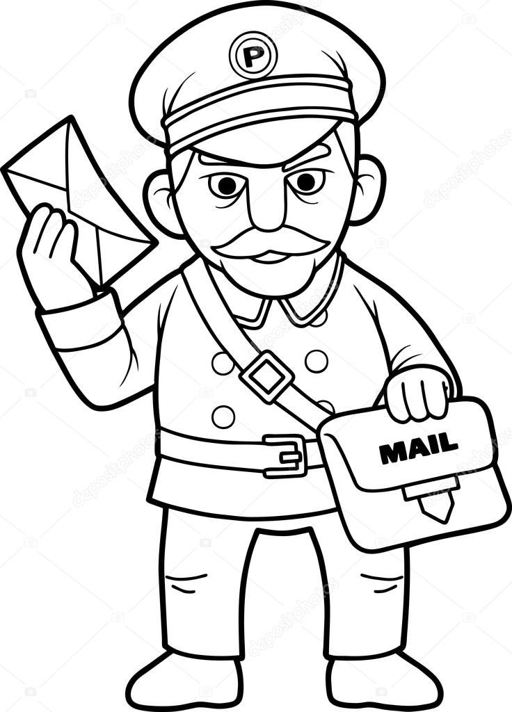 736x1024 Postman Delivered The Important Message Stock Vector Fargon