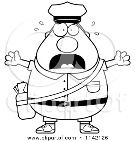 450x470 Cartoon Clipart Of A Black And White Stressed Chubby Mail Man