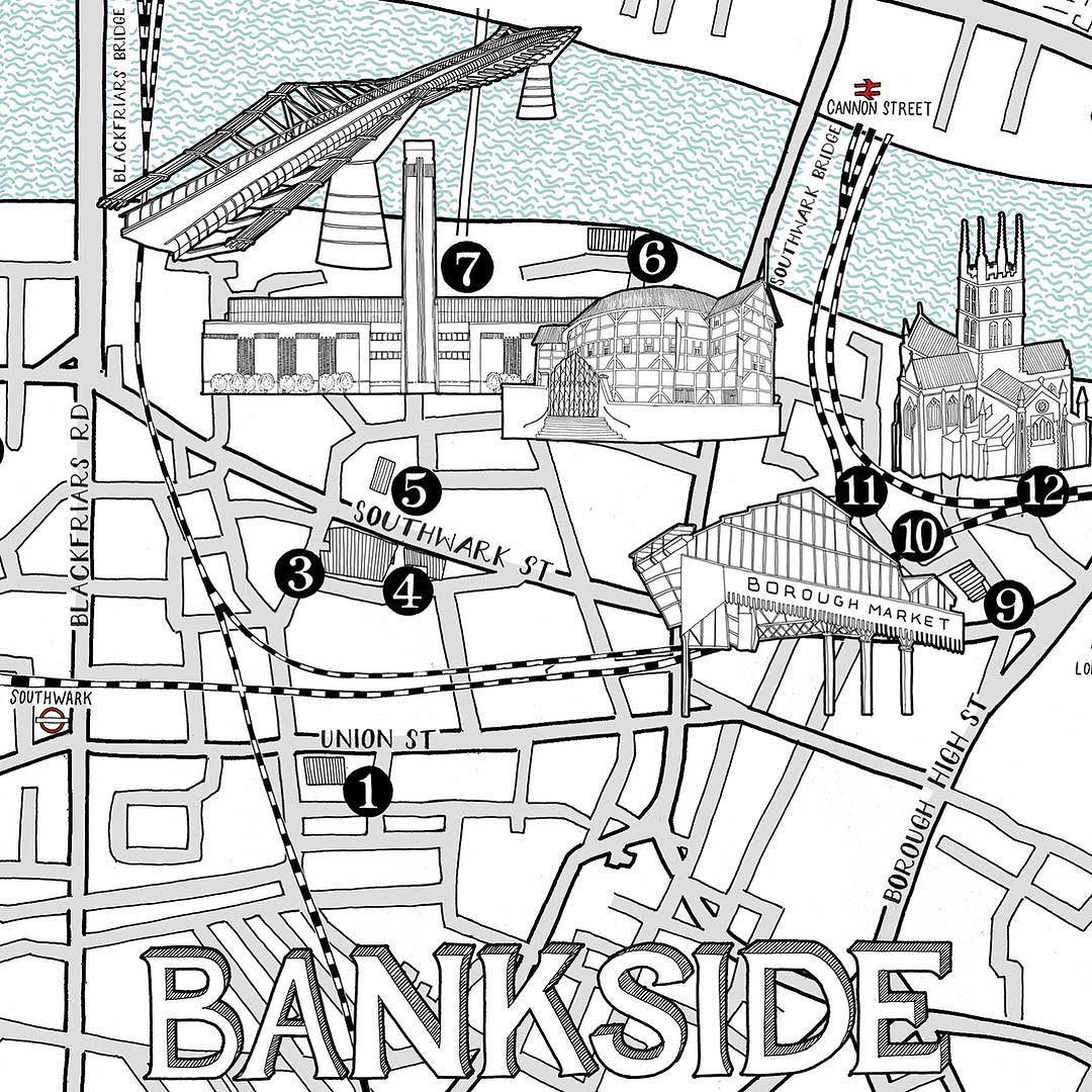 1080x1080 New Illustrated Map Of Bankside For Square Meal Mapping The Main