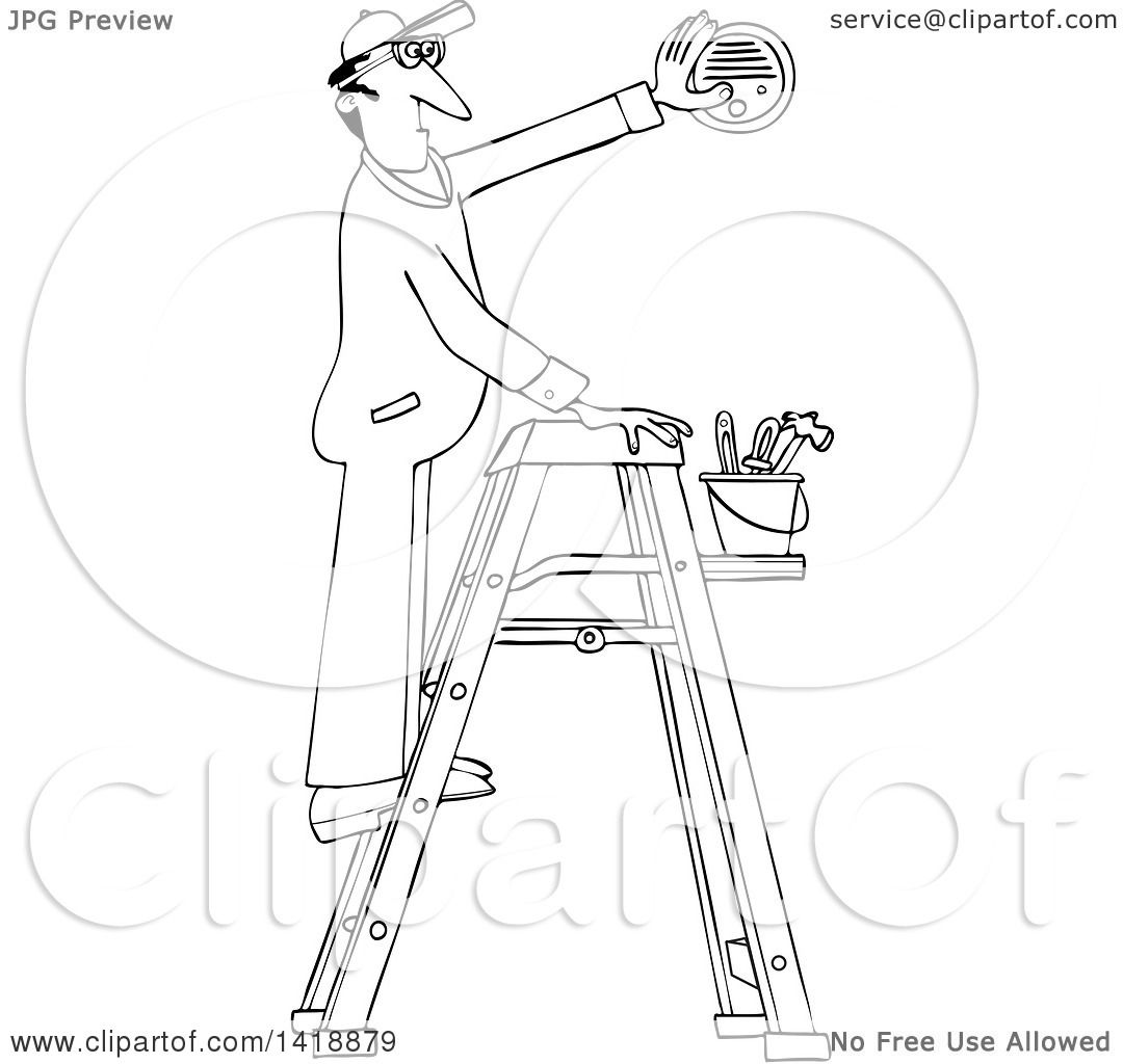 1080x1024 Clipart Of A Cartoon Black And White Lineart Maintenance Worker