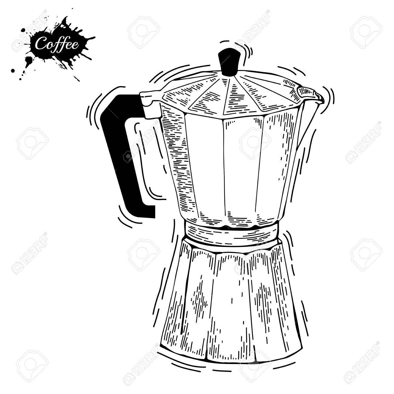 1300x1300 Coffee Ware. Coffee Pot Sketch Illustration. Moka Pot An Engraving