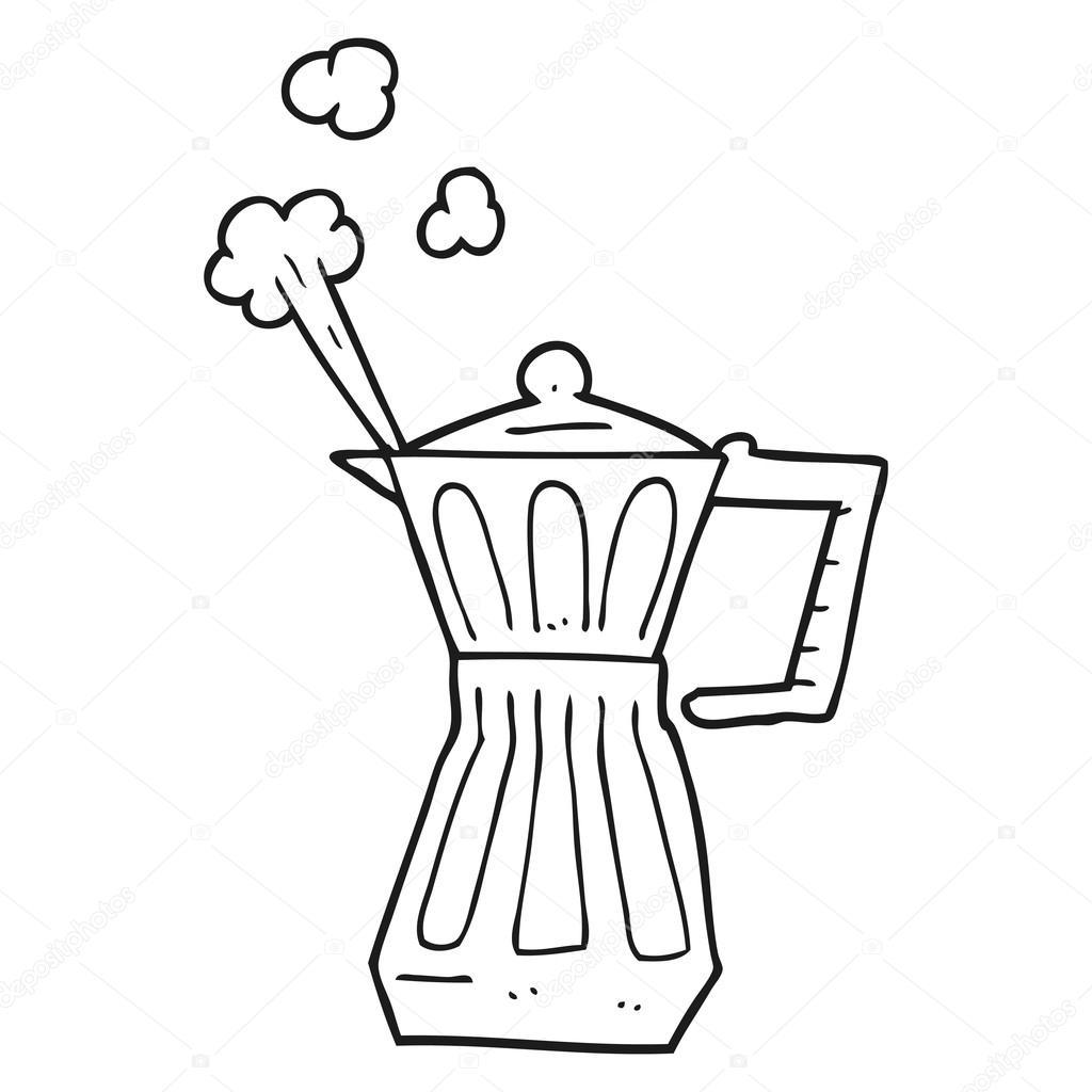 1024x1024 Black And White Cartoon Espresso Stovetop Maker Stock Vector