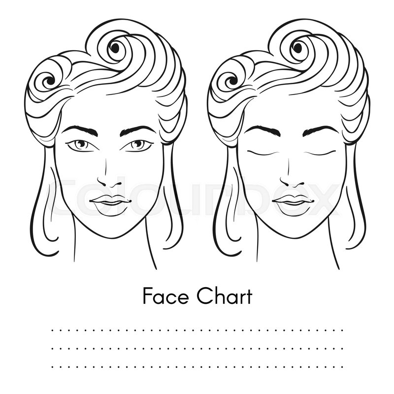 800x800 Vector Beautiful Woman Face Chart Portrait. Female Face With Open