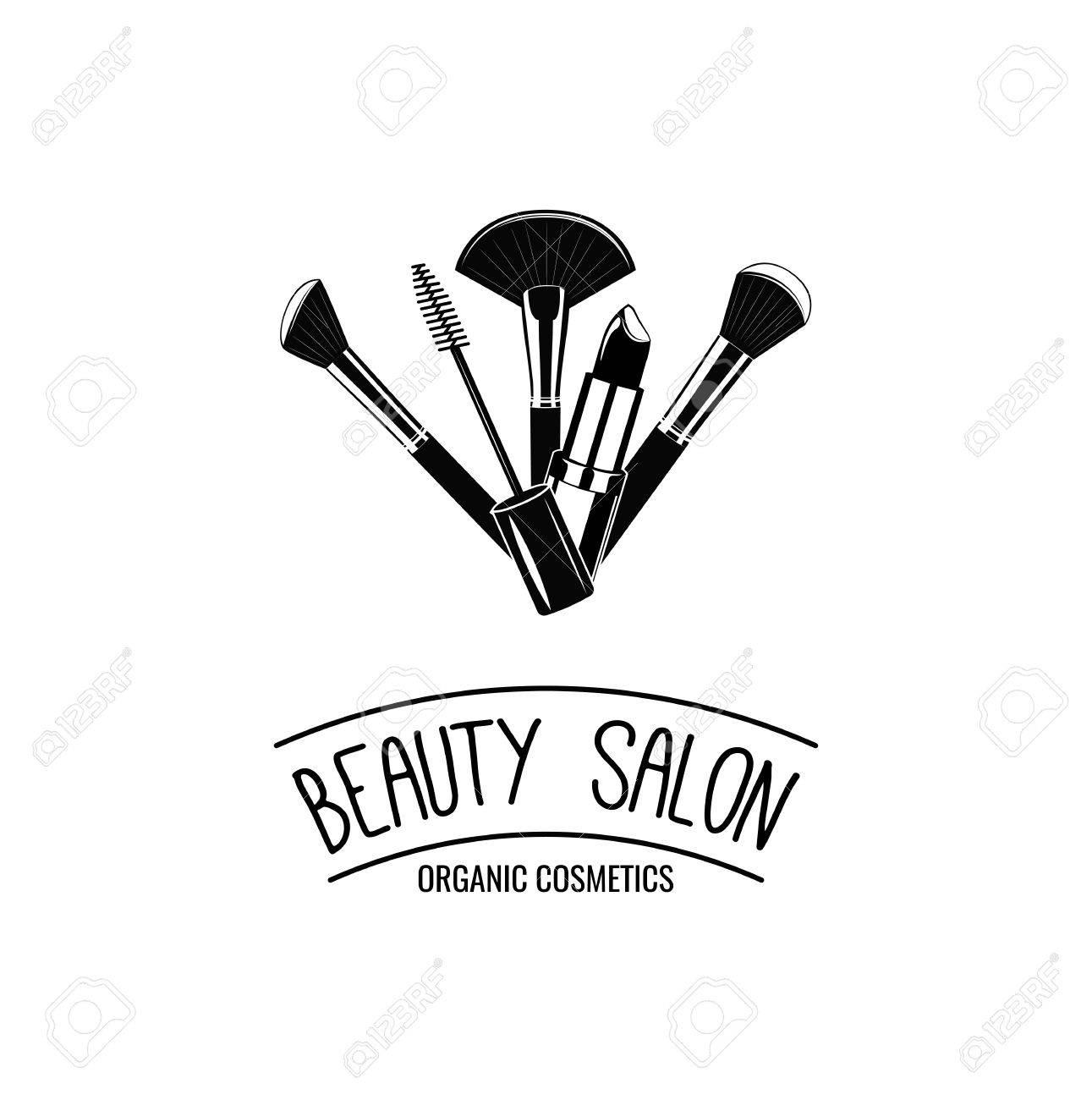1291x1300 Beauty Salon Badge. Makeup Brushes Logo Vector Illustration