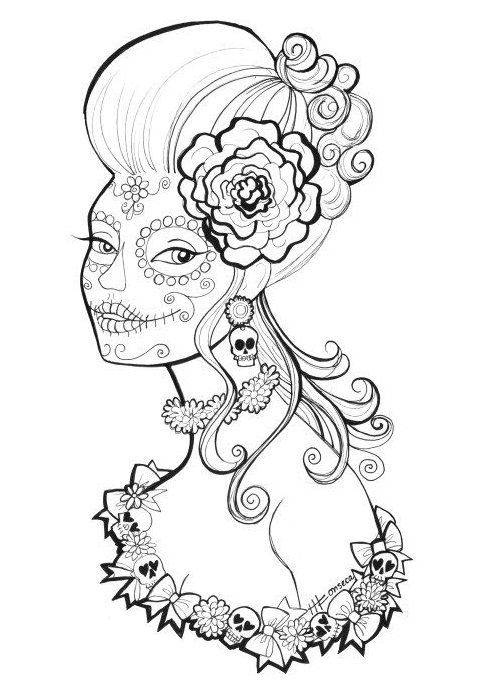 500x691 Day Of The Dead 2017 Drawing Tattoo Makeup Coloring Pages