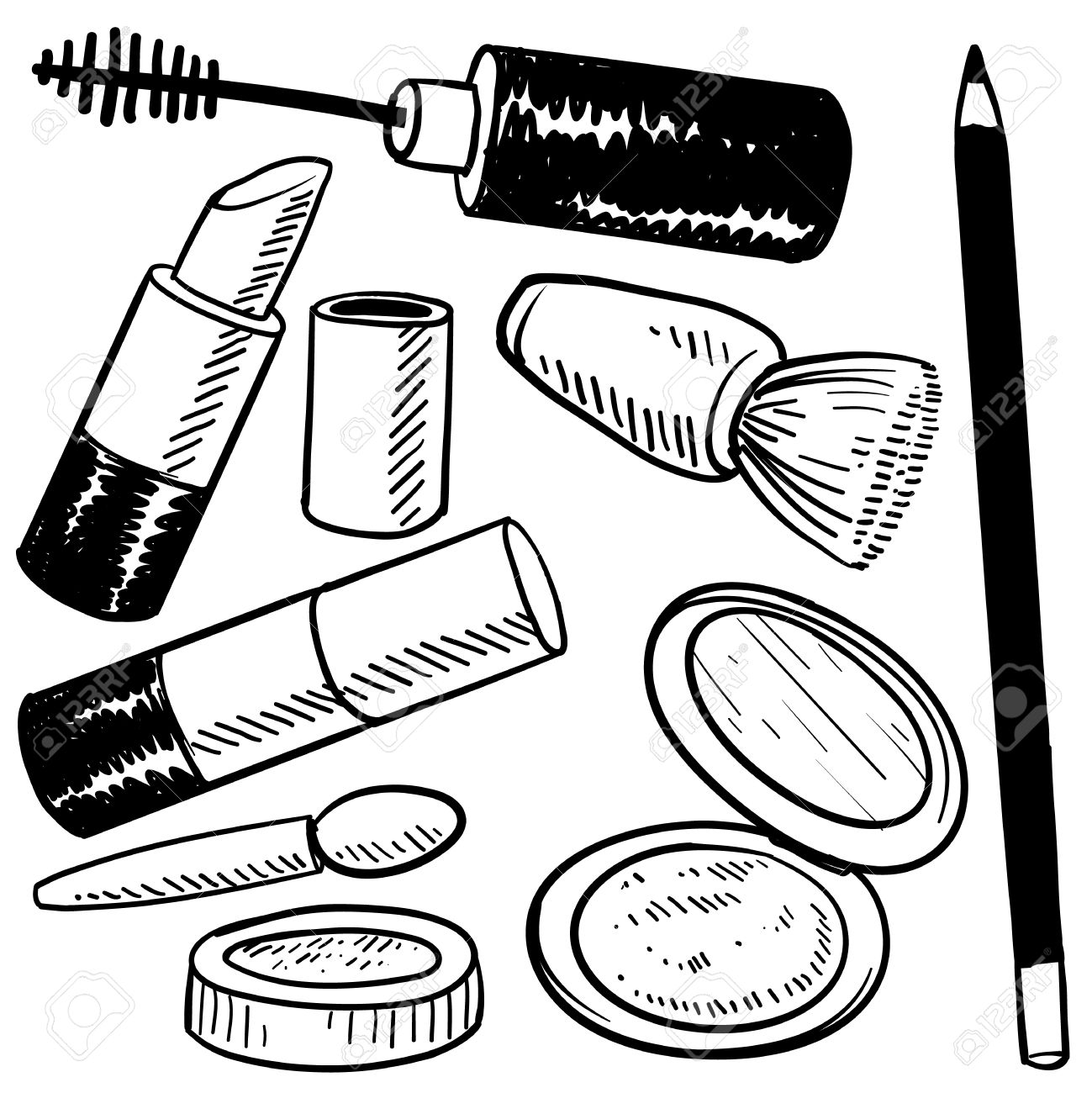 1299x1300 Doodle Style Makeup Items Sketch In Vector Format Set Include