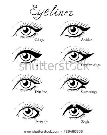375x470 Types Of Eye Makeup. Cat Eyeliner Tutorial. Hand Drawn