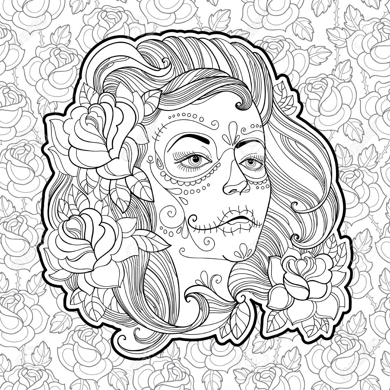 1300x1300 Woman Face With Sugar Skull Or Calavera Catrina Makeup On