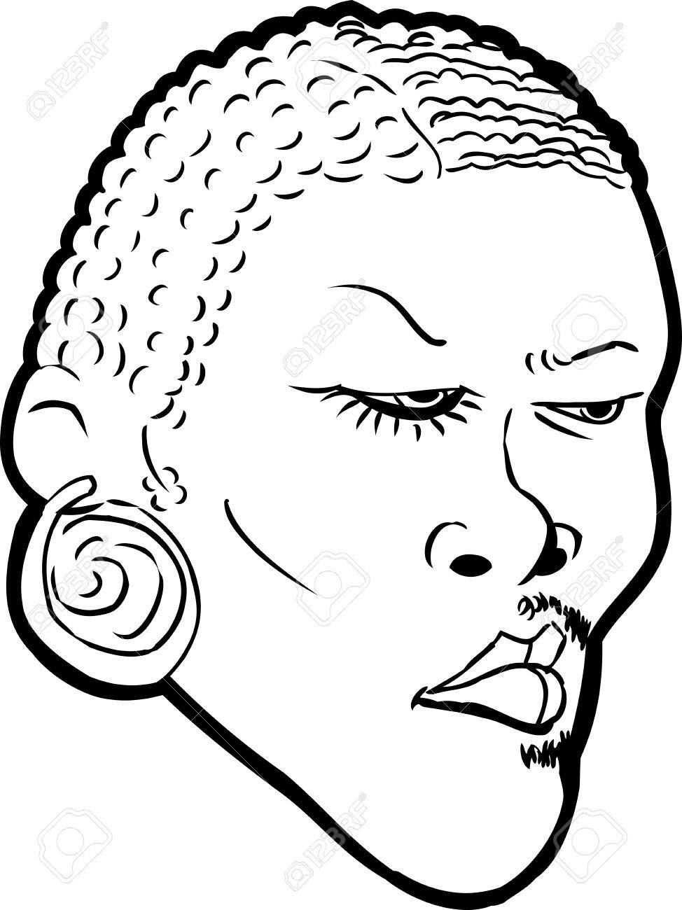 974x1300 Cartoon Outlined Face Of Black Man With Half Face In Makeup Over