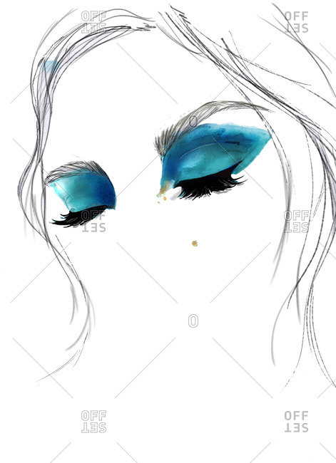 471x650 Face Of A Woman With Turquoise Eye Makeup Stock Photo
