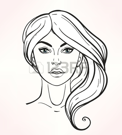 409x450 Vector Face With Lines Showing Facial Proportions For Cosmetology