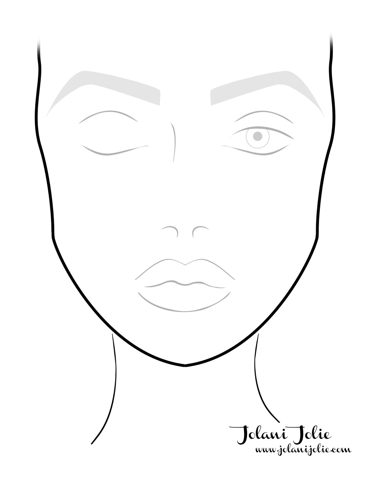 1237x1600 face drawing template resume