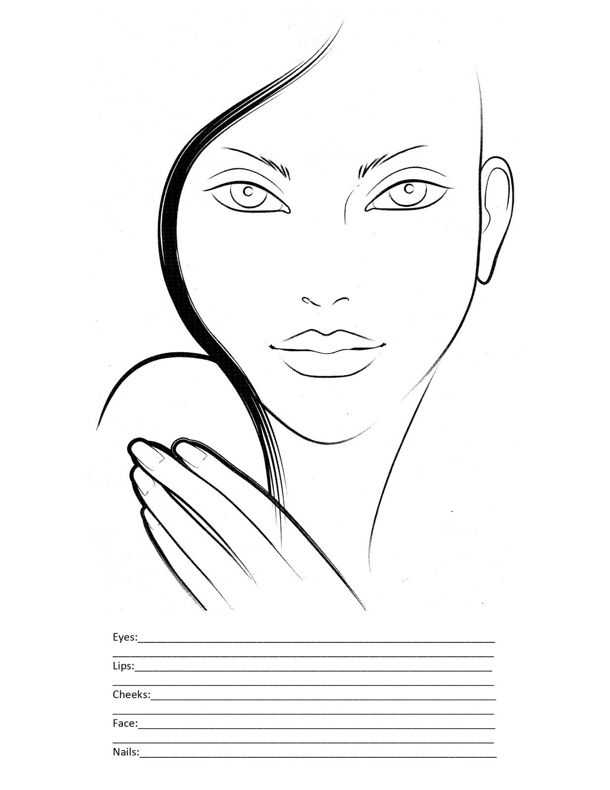 graphic relating to Printable Face Charts identified as Make-up Facial area Drawing at  Absolutely free for particular person