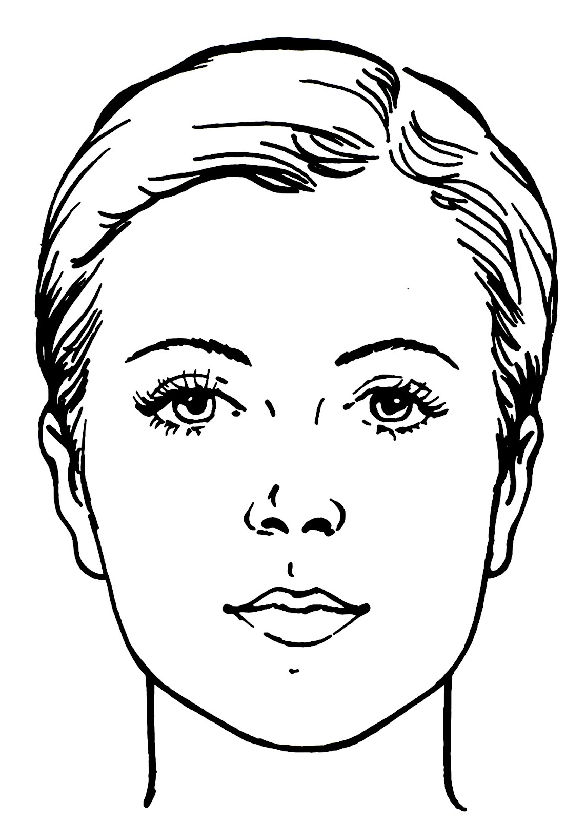 photograph about Printable Faces named Make-up Facial area Drawing at  Free of charge for unique