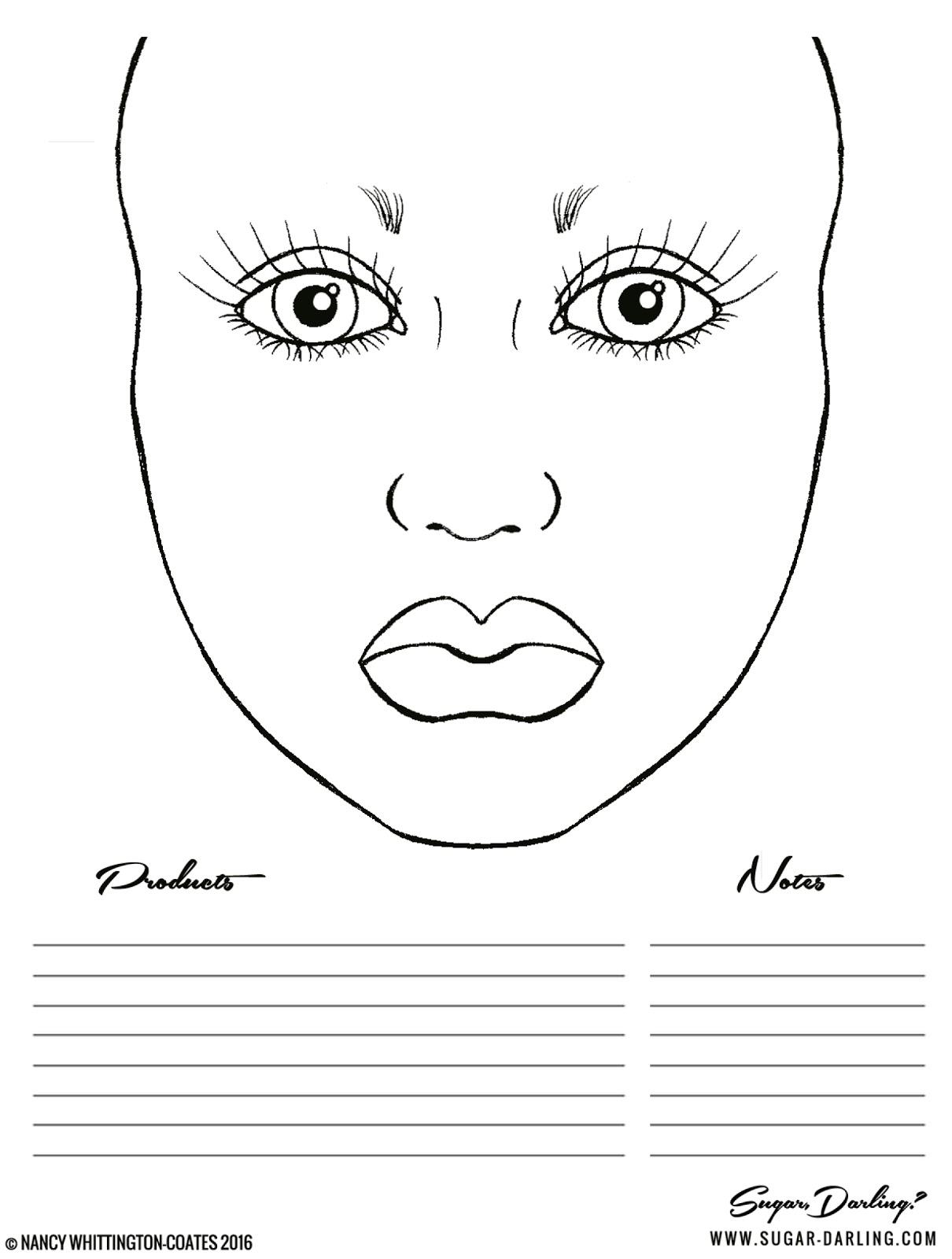 1210x1600 Free Makeup Face Charts Sugar, Darling