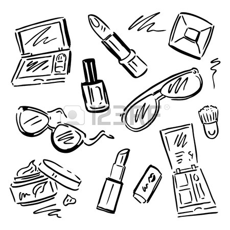 450x450 Makeup Products Set. Cosmetics. Hand Drawn Vector Illustration
