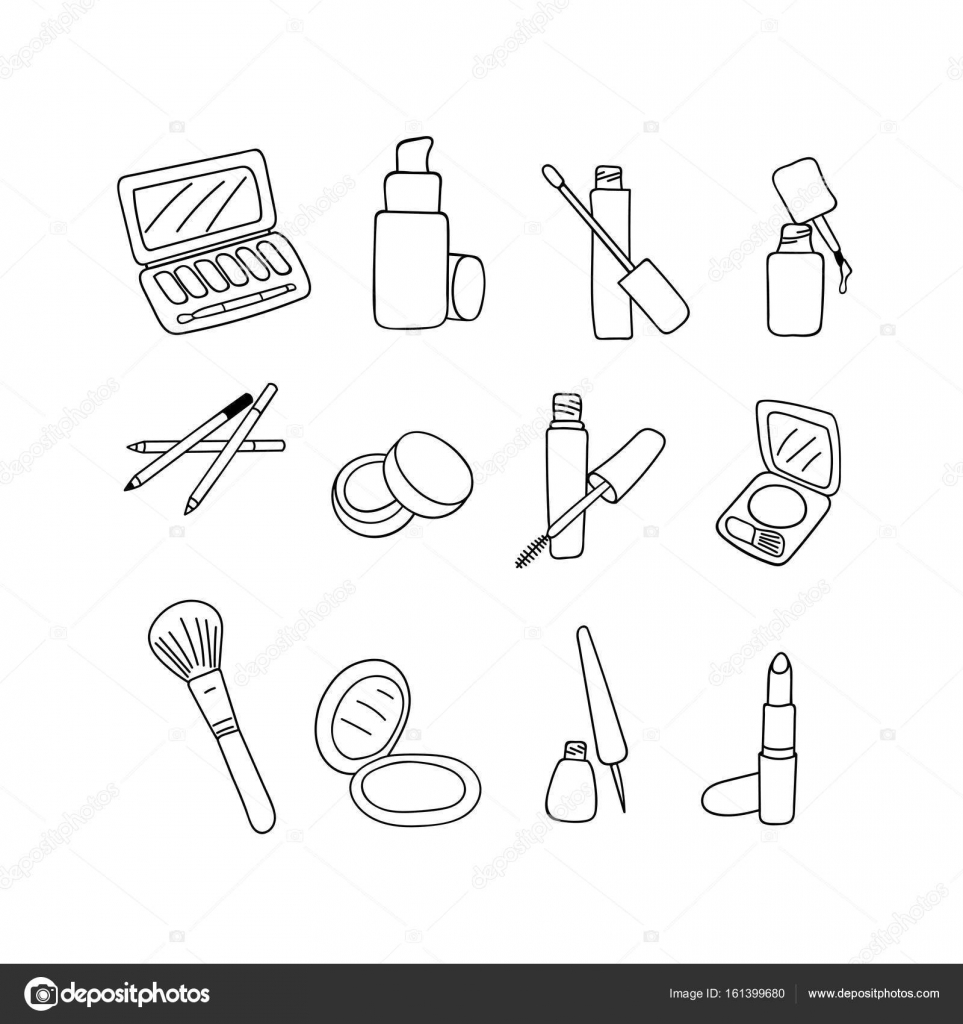 963x1024 Makeup Cosmetics Products, Sketch On White Background. Vector